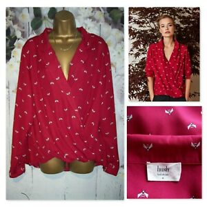 HUSH WRAP BLOUSE SIZE 16, Berry Red Atlas wrap Insect print Shirt Top