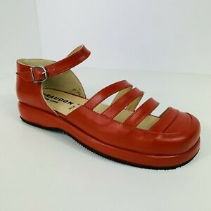 NEW Giraudon Strappy Open Mary Jane Flats Sandals Sz 9 / 39.5 Red Leather