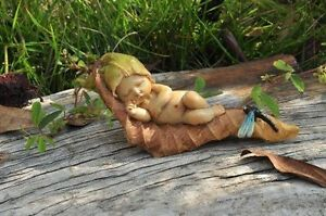 Miniature Sleeping Fairy Baby with Dragonfly TO 4138 Fairy Garden Figurine