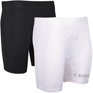 SAWANS® Compression Shorts Cricket Boxer Groin Guard Support MMA Running Fitness