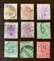 GREAT LOT OF 9 ORANGE RIVER COLONY SOUTH AFRICA STAMPS, VRIJ, OVERPRINT