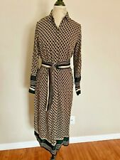 H&M Calf Length Shirt Dress BLACK PATTERNED w BELT US 2 6 4 14 12 UK 12 10 18 20