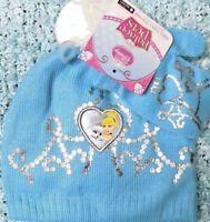 Disney Toddler Beanie Princess Cinderella Hat Mittens Set Blue  Sz 2T to 5T