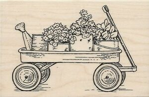 """Garden Wagon"" Rubber Stamp by Stampendous"