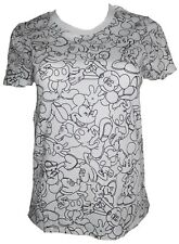 Disney Womens Juniors Outline Faces of Mickey All Over Print T-Shirt White Sz S