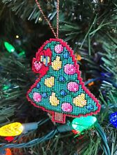 Completed Handmade Cross Stitch Christmas Ornament-Decorated Tree-Pears-Hearts