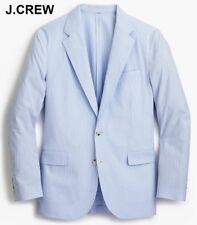 J.CREW Ludlow seersucker blazer blue white stripe suit jacket slim-fit 40S 40 S