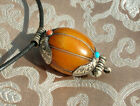 Great tibetan Protection-Charm Gau from Nepal Amber Silver
