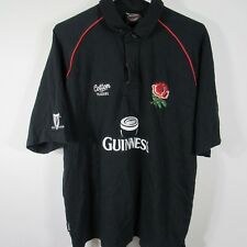 Guinness Beer England Rugby Polo Golf Shirt Sz Large L Black C95