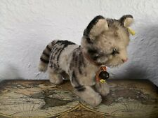 Original Steiff Tabby Cat With Bow And Bell
