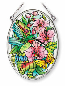 """Hummingbirds Orchard Sun Catcher 3.25"""" x 4.5"""" AMIA Hand Painted Glass Hibiscus"""