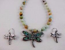 Dragonfly necklace earring set colored beads silver metal earrings cable chain