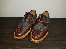Mark McNairy Brown Leather/Gray Wool Herringbone Country Brogue Men's US 7, GB 6