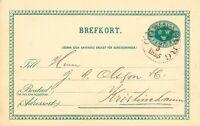"""SCHWEDEN 1895, """"GÖTEBORG L.Br."""" K1 klar a. 5 (FEM) Öre grün GA-Postkarte, Kab."""