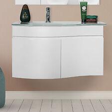 Mobile da bagno SOSPESO bianco LUCIDO con lavabo vetro temperato 80 x 50 x 50