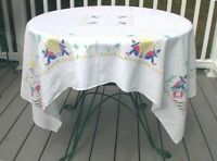 Vintage Mexican Southwestern Tablecloth White  Red Teal Blue Yellow Pink