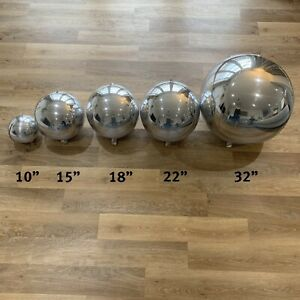 "Silver Orb Balloons Orbs Round Balloons 32"", 22"", 18"", 15"" & 10"" & Tassels"