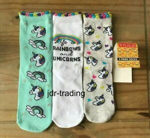 Girls Kids OFFICIAL EMOJI RAINBOWS & UNICORNS Socks 3 PACK Ages 3- 11+