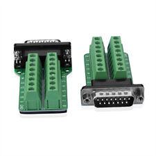 2x db15-g2 male 15 pin conector terminal bloque puertos de adaptador schraubanschluss