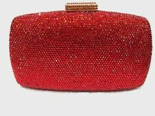 US Stock Red~New~ PURSE Bridal/Prom/Evening Crystal Metal Case Clutch Bag