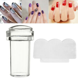 Clear Silicone Gel Nail Art Stamper & Scraper Plate Nail Stamping Nails UK New