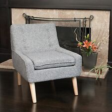 Retro Grey Fabric Accent Chair w/ Button Tufted Backrest
