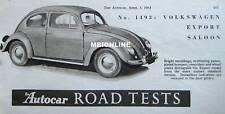 1953 Volkswagen Beetle Export Saloon Original Autocar magazine Road test