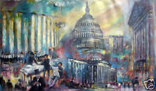 Capitol Building -Washington DC United States  36 x60 in. Oil  Hall Groat Sr.