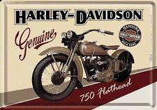 PLAQUE EN METAL EMAILLEE 10 X 14 cm (CARTE POSTALE) HARLEY-DAVIDSON 750 FLATHEAD