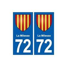 72 La Milesse blason autocollant plaque stickers ville arrondis