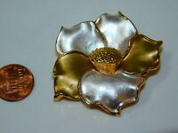 "Vintage  Rose Flower 2.75"" Gold Silver tone Brooch Pin 4c 95"