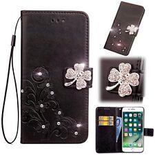 Diamond Clover Flower Card Slot Wallet Flip Leather Cover Case For LG iPhone Mot