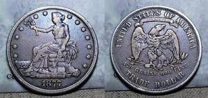 1877 P Trade Silver Dollar $1 Nice Toning !!