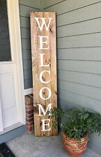 "6ft HUGE Wood Sign ""Welcome"" Rustic Country Home Decor Made in USA!"