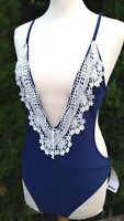 BNWT Boohoo Crochet Plunge Cut Out Cross Back Swimsuit Navy Size UK 12 B251-13
