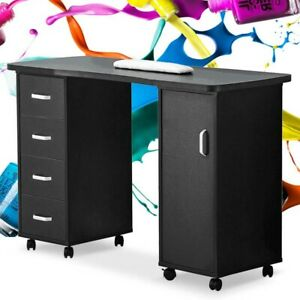 Rolling Manicure Station Nail Table Wooden Desk W/1 Door&4 Drawers Black