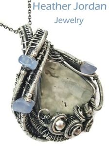 Worm Fossil Wire-Wrapped Necklace in Sterling Silver with Holly Blue Agate