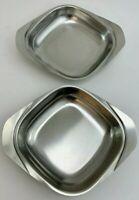 "Vtg 2 GENSE Sweden Stainless Square Serving Bowl Dish Plate 10"" MCM Flat Handle"
