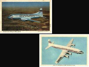 Continental Airlines Postcard Lot DC-6B Convair Liners 1950's Mid-Century Plane