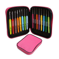 16pcs Multi Colour Crochet Hooks Yarn Knitting Needles Set Kit with Case New