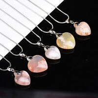 Natural Sakura Agate Cherry Blossom Heart Pendant Crystal Reiki Healing Necklace