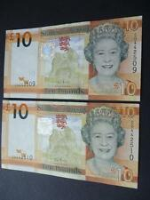 A PAIR OF JERSEY £10 NOTES CONSECUTIVE NUMBERS AND UNCIRCULATED TEN POUND NOTES.