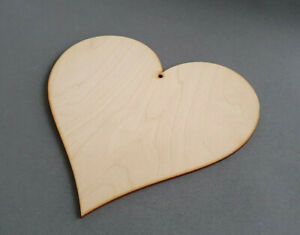 5x Extra Large Wooden Heart 200mm Wedding Shapes Embellishments Craft with Hole