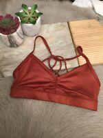 Alo Yoga Sunny Strappy Sports Bra: Size XS: Amber Glossy (132)