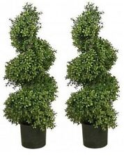 """TWO 36"""" ARTIFICIAL WIDE BOXWOOD OUTDOOR TOPIARY UV TREE SPIRAL 3' Patio 4 5 Deck"""