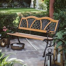 Outdoor Yard Bench Metal Curved Wooden Garden Backyard Patio Park Furniture Seat