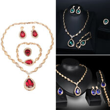 Fashion Jewelry Set Necklace Bracelet Ring Earring Crystal Women Bridal Wedding