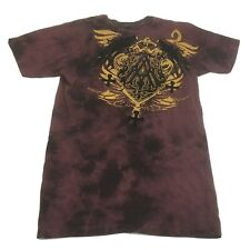 Mens Archaic by Affliction T Shirt Red Gold with Black Velvet Small short sleeve