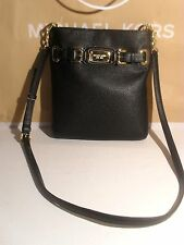 NWT Michael Kors Hamilton Black Leather Shoulder Crossbody MK plate bag Purse