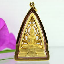 Beautiful Detail Solid 18K 75% Pure Gold Framed Thai Buddha Sothorn Amulet